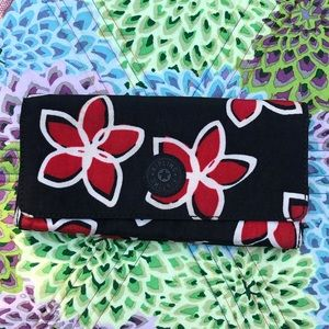 Kipling Teddi Wallet Red and Black Floral Print